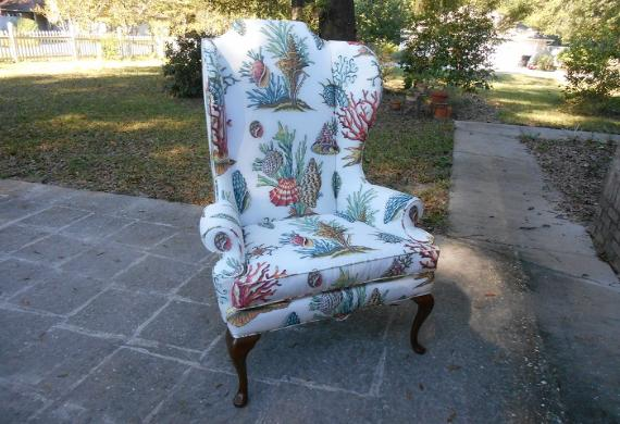 striped cotton print on a classic wing chair